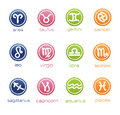 Colorful horoscope signs in badge form 