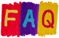 FAQ, frequently asked questions in bright marker ink colors.