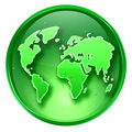 world icon green, isolated on white background.