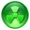 Radioactive icon green, isolated on white background.