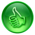  thumb up icon green, approval Hand Gesture, isolated on white b