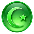 moon and star icon green, isolated on white background.