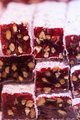 Sweet Turkish delight with pomegranate and nuts