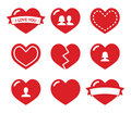 Love hearts icons set for Valentines Day