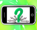 Question Mark On Smartphone Shows Asking Questions