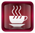 Coffee cup icon dark red, isolated on white background