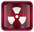 Radioactive icon dark red, isolated on white background.