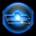 Libra zodiac button icon, isolated on black background.