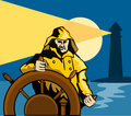 Fisherman Sea Captain Helm Retro