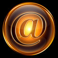 email icon gold, isolated on black background 