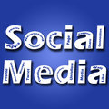 A blue background image with Social Media