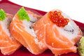 Japanese sushi traditional japanese food.Roll made of salmon, re