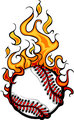 Baseball Softball Flaming Ball Vector Cartoon