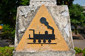 Concrete triangular train symbol 
