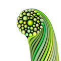 3d abstract twisted green shape on white