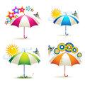Colored umbrellas with stars