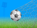 soccer ball in goal - vector illustration