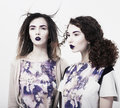 Individuality. Emo. Two Glamorous Modern Women. Trendy Brightly Makeup