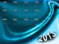 2013 calendar bright colorful blue wave vector design