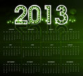 2013 calendar bright green new year colorful vector 
