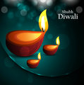 Happy diwali beautiful card diya vector design