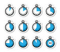 Time, clock, stopwatch vector icons set