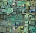 fragmented blue green square tile grunge pattern backdrop