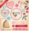 Hand Drawn Romantic Greetings Scrapbook Vector Set