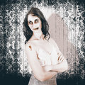 Vintage halloween spook on grunge background