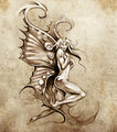 Sketch of tattoo art, fantasy fairy, nude illustration