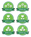 Spring sale retro green round labels - grunge style