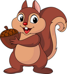 Squirrel cartoon with nut stock vector