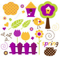 Cute spring garden vector set isolated on white ( retro )
