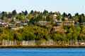 Sailboat Yachts Marina Cliff Buildings Waterfront Seattle Washin