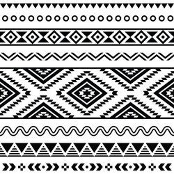 Tribal Seamless Pattern Aztec Black And White Background Stock Vector