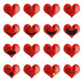 Set of heart shaped smileys
