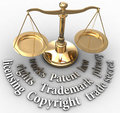 Scale IP rights legal justice words