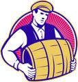 Bartender Carrying Beer Keg Retro