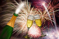 Champagne Toast with Fireworks Background