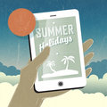Summer holidays conceptual illustration. Smart phone in hand. Ve