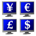 computer monitor with money currency signs