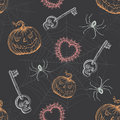 Hand Drawn Vintage Halloween Seamless Pattern