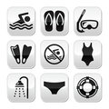 Swimming, scuba diving, sport vector buttons set