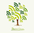 Green concept share icon tree
