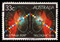 Stamp printed in Australia shows symbols of electronic mail