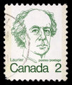 Stamp printed in Canada shows a portrait of Canadian Prime Minister Sir Wilfrid Laurier