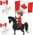 Mountie on horse with flag of Canada in hand