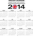 2014 English Calendar - Sunday