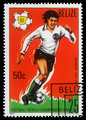 Stamp printed by Belize, shows World Football Championship, Spain