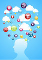 Human head cloud storage concept.